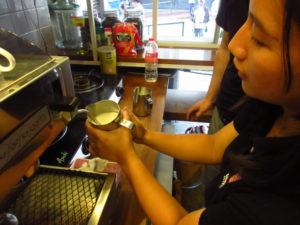 コーヒーを蒸す