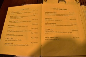 Cafe by the Ruins coffee menu