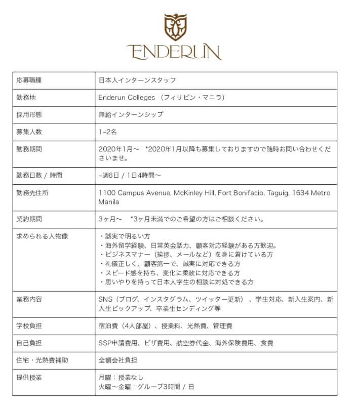 0円インターンシップ「ENDERUN(エンデラン)」の募集内容